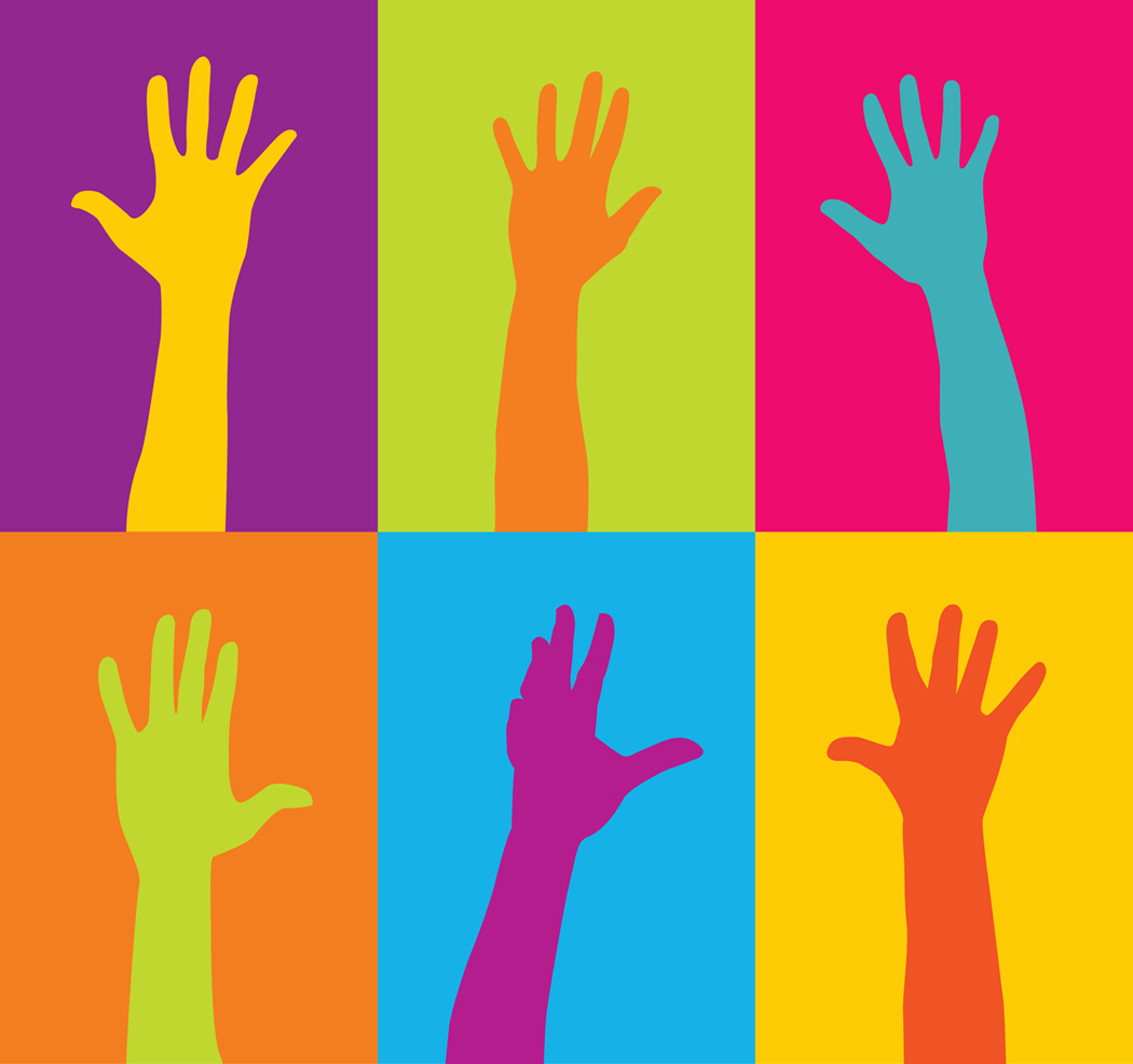 Picture of hands raised to volunteer